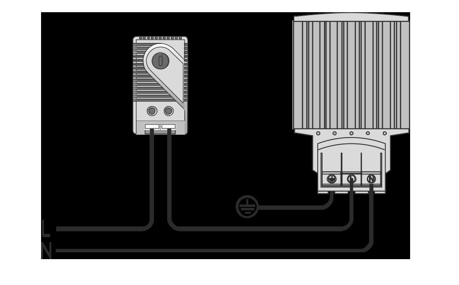 Схема подключения термостата для электротехнических шкафов МТК-СТ1