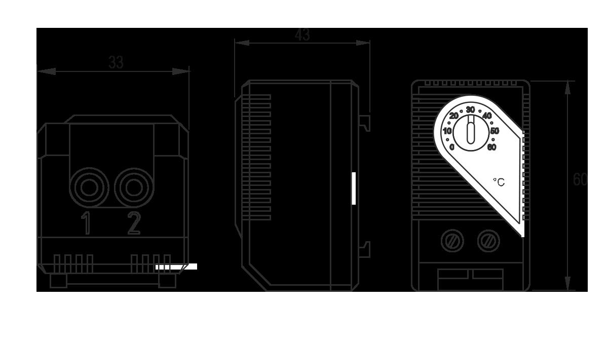 Габаритные размеры термостата для электротехнических шкафов МТК-СТ0/МТК-СТ1