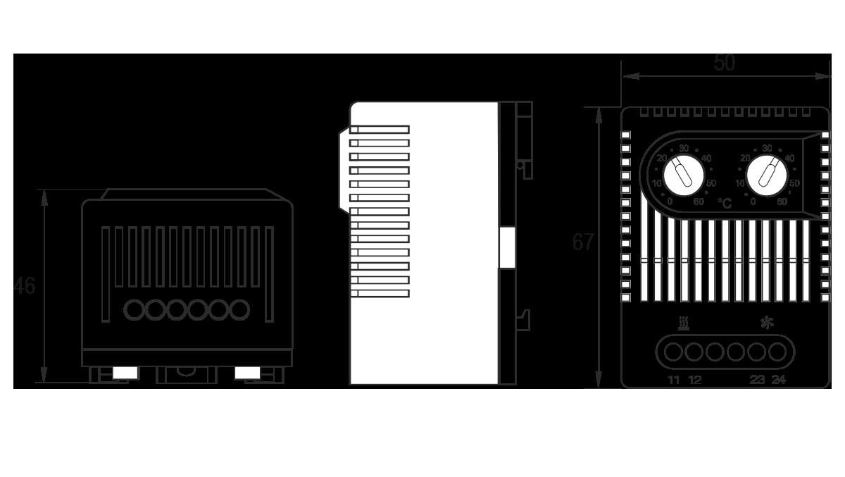 Габаритные размеры термостата для электротехнических шкафов МТК-СТ2